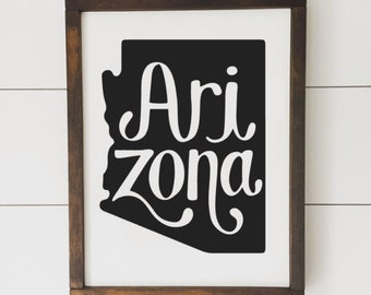 Arizona State Sign // Framed Wood Sign // Farmhouse Decor // Farmhouse Sign // Home State // Arizona // State Sign // Gifts for Her