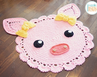 Handmade Crochet Pinky Piggy Rug with Bows - READY to SHIP