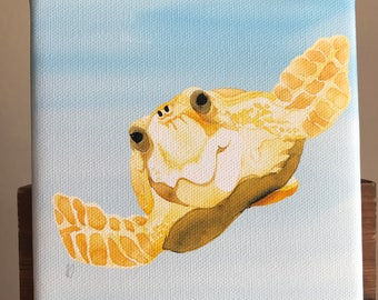 """Canvas reproduction giclee PRINT from original watercolor: """"Curious Loggerhead Turtle"""""""