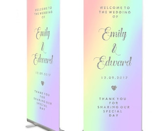 Pastel Rainbow Ombre Roller banner, Wedding Welcome sign,