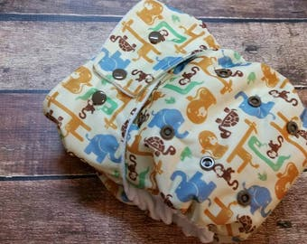 One Size Pocket Cloth Diaper Golden Safari 15-40 lbs PUL