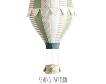 B2 - Pattern Hot Air Balloon with Flags, Crochet Basket and Weight Bags - 8 and 16 Segments - Baby Mobile, Nursery Decor, Home Decor - DIY