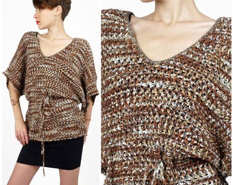 Vintage 70's Marled Brown & White Loose Knit Sweater Tunic Blouse w/ Cinched Waist and Wide Sleeves by Le Roy Knitwear | Small Medium Large