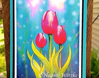 Midnight Tulips Card - Greeting Card, A2, Blank or Choice of Text, Handmade, Print of Original Watercolor Painting