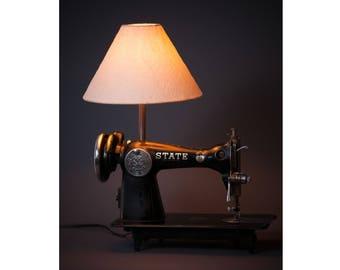 Vintage Sewing Machine Lamp. STATE sewing machine light. repurposed industrial