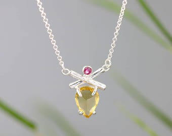 Crossed Twig Necklace with Citrine and Ruby - Bright Natural Sterling Silver Pendant with Prong Set Pink, Yellow Gemstones - READY TO SHIP