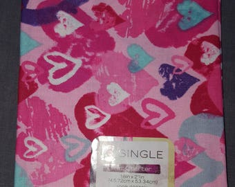 Pink and Red Heart  Cotton Print Fat Quarter Fabric