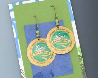 Bottle cap earrings. Leinenkugel. Reuse. Recycle. Upcycle.