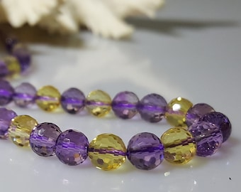 """Faceted Round Grade A+ Natural Ametrine Quartz Crystal 6mm Beads,  15.5""""Strand"""