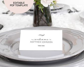 Wedding Place Cards Template - Wedding Place Cards - Wedding Name Cards - Editable Seating Cards - Wedding Seating Cards - Place Card Names