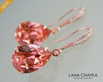 Rose Gold Rose Peach Crystal Earrings, Swarovski Rose Peach Teardrop Earrings Coral Rhinestone Wedding Earring Bridesmaid Gift Prom Earrings