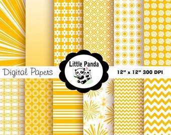 70% OFF SALE Amber Yellow Digital Paper Pack, Scrapbook Papers, 12 jpg files 8.5 x 11  - Instant Download - D80