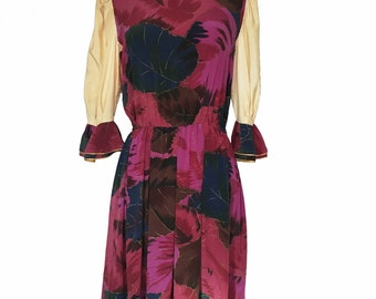 80s Dress - Vintage Floral Dress - Size 8 Dress - Romantic Sleeves - Soo Yung Lee Dress