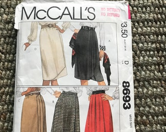 McCalls #8693 Vintage 1980's Women's Sewing Pattern Misses Wrap Skirt w Buttoned waistband soft pleats and gathers gathered front NEW UNCUT