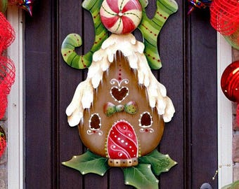 "SALE Christmas decor ""Joy Gingerbread Bird House"" Wooden Door Hanger by Jamie Mills Price - Wall decor - Free shipping ( domestic) #8457507H"