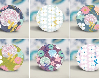 Flower Print Pocket Mirror, Make-up Mirror - cute party favor gift