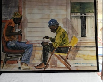 Classic Harmon Montgomery Signed and Dated 94 Watercolor Print of Two Black Men Playing Checkers on one of their front porches Mid Summer