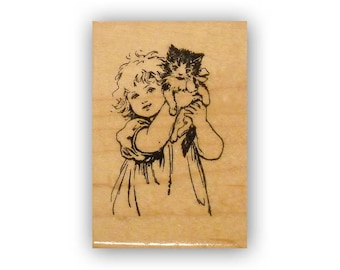 Girl and Kitten.. mounted rubber stamp, kitty cat, vintage style children, Crazy Mountain Stamps #8