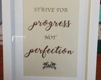 Progress - Gold Foil Framed Quote
