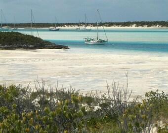 Photography, Bahamas, Anchored Sailboats off of Warderick Wells Near Beach, Vertical, Fine Art Print, Home Decor, 5x7, 8x10, 11x14, Wall Art