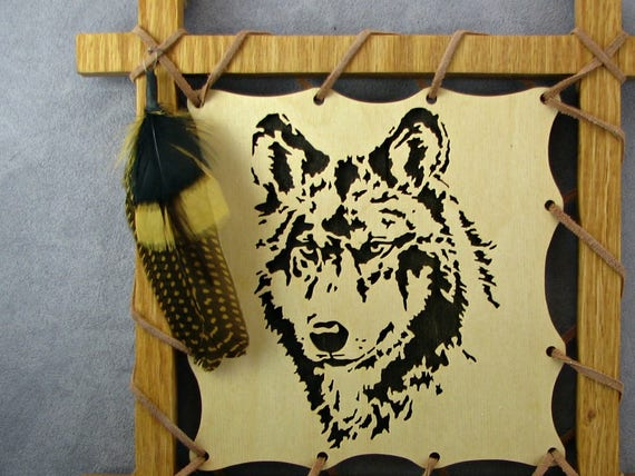 Wolf Plaque with feathers in black wall hanging wolf wall