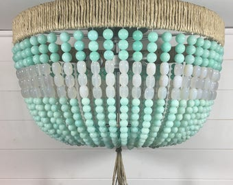 Mint & White Beaded Flush Mount Light- Made to Order