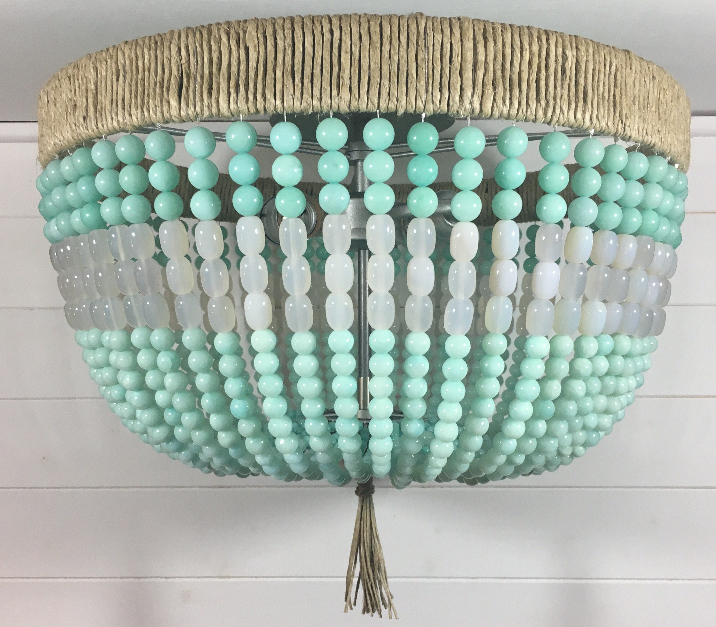Mint & White Beaded Flush Mount Light Made to Order