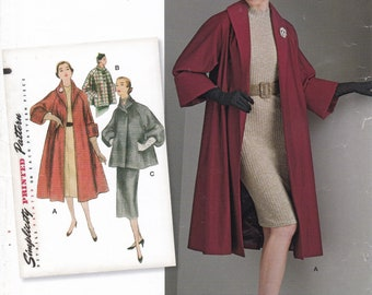FREE US SHIP Vintage 30's Sewing Pattern Simplicity D0825 8509 Rockabilly 50s Swing Coat Size 14 16 18 20 22  Bust 36 38 40 42 44 Plus