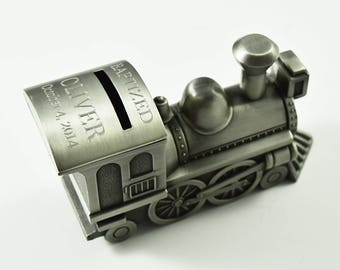 Personalized Train Bank, Locomotive Piggy Bank, Personalized Piggy Bank, Train Bank, Unique Piggy Bank, Train Piggy Bank. Train Money Bank