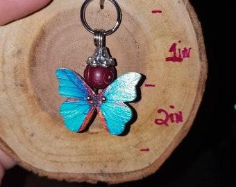 Handmade Metal wooden Butterfly pet charm