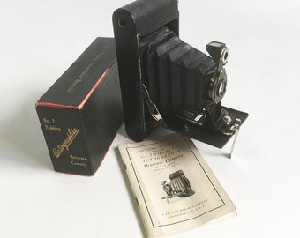 "1919 Kodak No. 2 Folding Autographic Brownie Camera with Original Box and Manual ""Antique Camera in Excellent Condition"""