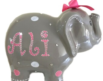 Personalized Large Gray Elephant Piggy Bank White & Pink Polka Dots - Newborns, Birthday Girls, Flower Girl, Baby Shower Gift Centerpieces