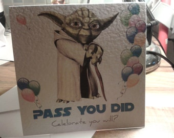 Handmade Star Wars Yoda Congratulations Exams Driving Test Passed Card - STYLE 2