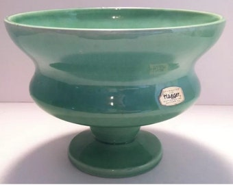 Haeger Pottery Glossy Green Pedestal Planter Retro Mod
