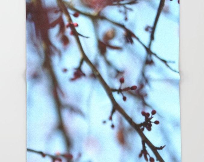 Tree Blooms Fleece Throw Blanket - Bedding - Nature Photography - Throw Blanket - Soft Fleece Blanket - Made to Order