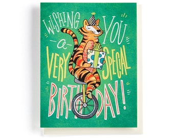 Birthday Card: Tiger on a unicycle wishing you a very special birthday, illustrated and hand-lettered in green, orange and yellow