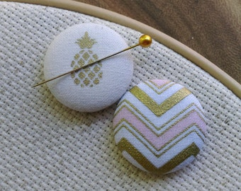 Needle Minder-Pineapple, Chevron, Pink, Gold, 2 Piece Reversible Scout and Remy, For Cross Stitch, Sewing, Embroidery