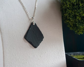 Slate Pendant Necklace - Reclaimed Slate Necklace - Black Slate with Silver Plated Bail
