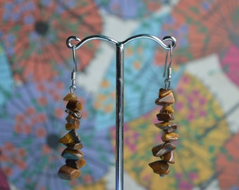 Sterling Silver Tigers Eye Chip Earrings