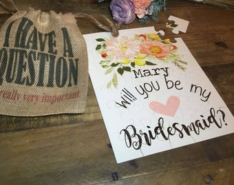 Bridesmaid Proposal Gift - Bridal Party Puzzle - Will you be my bridesmaid - Custom Wedding Puzzle - Bridesmaid Gift  -