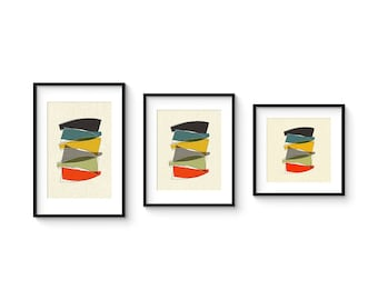 PILE - Giclee Print - Mid Century Modern Danish Modern Minimalist Cubist Modernist Eames Retro Abstract