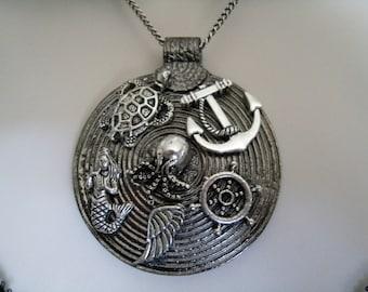 Nautical Medallion Necklace, boho jewelry bohemian jewelry beach jewelry hippie ocean rockabilly boho necklace