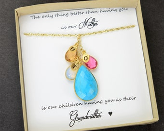Mother's Day Gift Custom Necklace For Mom birthstone Initial Necklace  grandma Necklace Family Necklace  Personalized Necklace Mom Gift