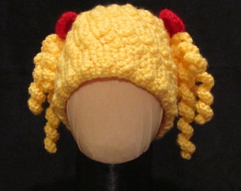 Goldilocks Inspired Baby Doll Hat Crochet 2 Styles -wig hat with Pigtail Curls and Bows or Bangs & Braids with Bows - Cabbage Patch Inspired