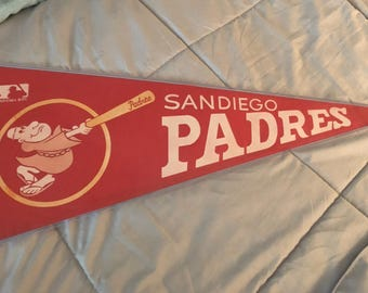 Vintage and Rare!! 1969 ! San Diego Padres pennant banner in Mint Condition !