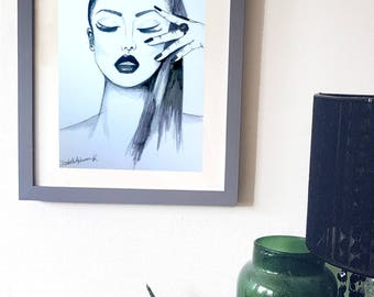 Black and White Watercolour Fashion Illustration