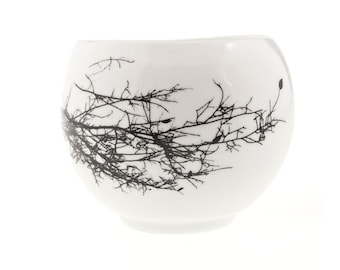 Ceramic Teacup with Winter Twig, Small Porcelain Coffee Cup, Espresso Cup