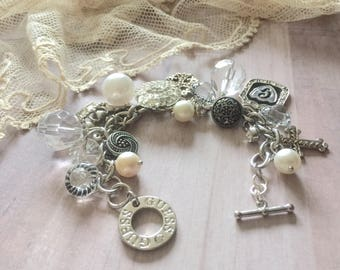 Vintage Altered Guess Charm Bracelet - Vintage Assemblage - Charm Bracelets - Upcycled Jewelry - Gifts