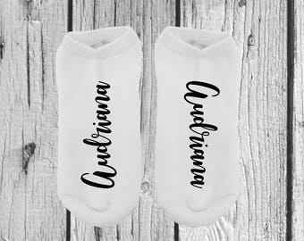 1 PAIR - Calligraphy Socks - Personalized Socks - Gifts For Her - Socks For Her