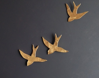 Original Artwork 3 Gold porcelain ceramic wall art swallows Ceramic sculpture Gold metallic birds Handmade pottery original unique art UK